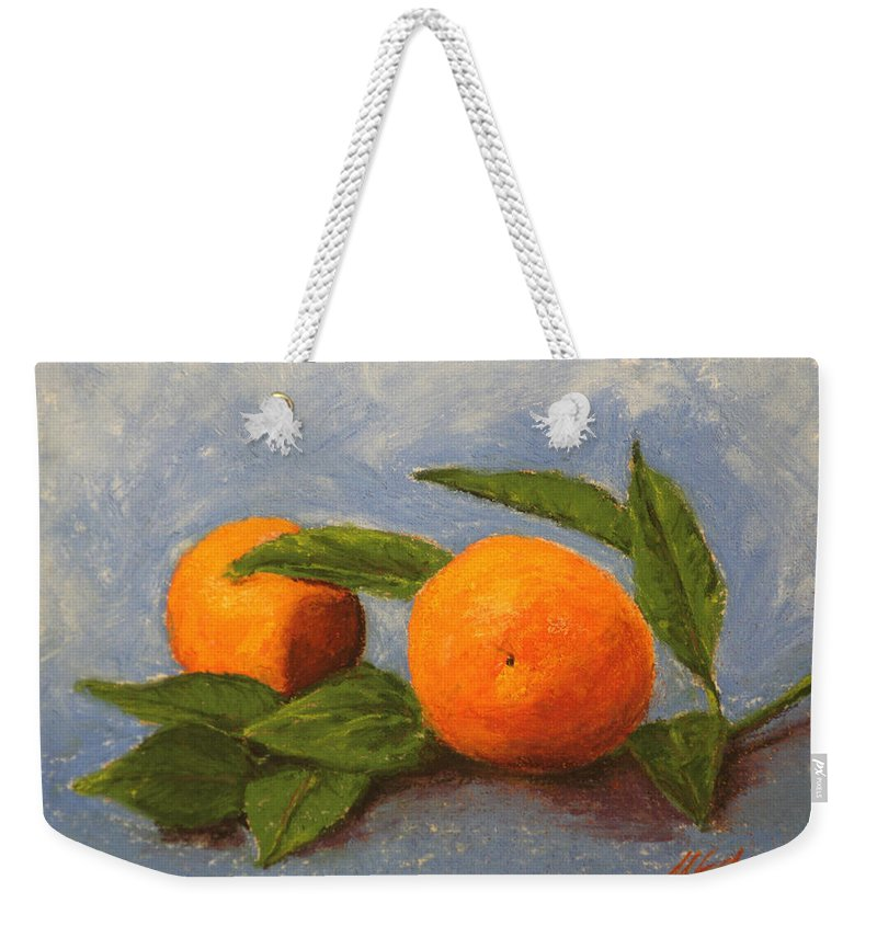 Oranges Weekender Tote Bag featuring the pastel Oranges by Marna Edwards Flavell