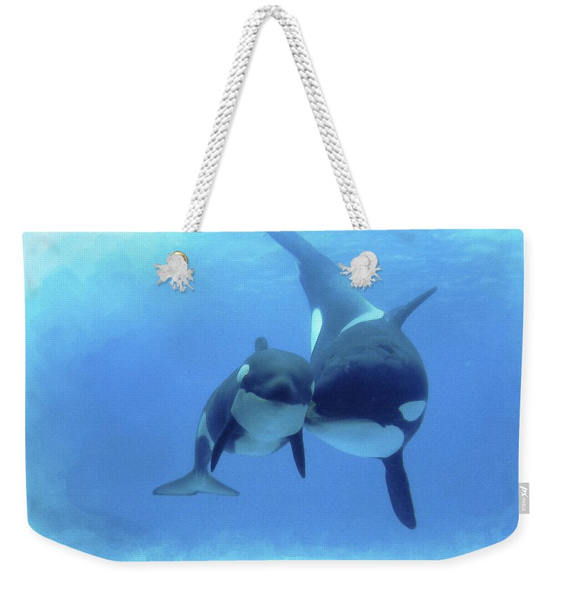 Bottlenose Dolphin Weekender Tote Bag featuring the digital art Orca by Don Kuing