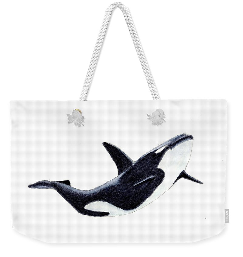 Animals Weekender Tote Bag featuring the painting Orca - Killer Whale by Michael Vigliotti