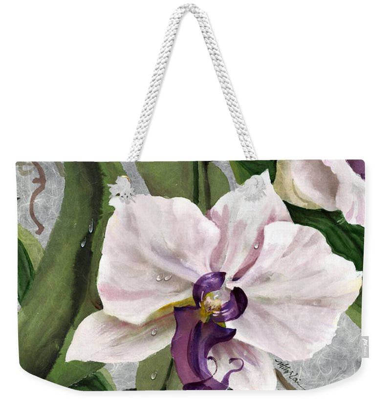 Orchid Weekender Tote Bag featuring the painting Orchid A - Phalaenopsis by Mitzi Lai