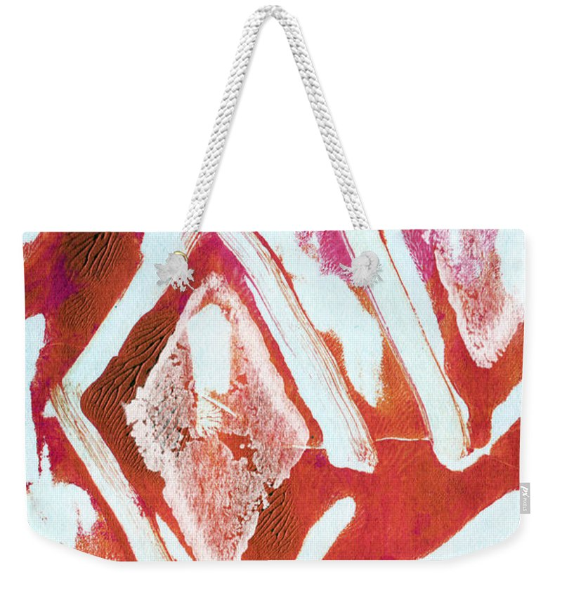 Contemporary Abstract Painting Weekender Tote Bag featuring the painting Orchid Diamonds- Abstract Painting by Linda Woods