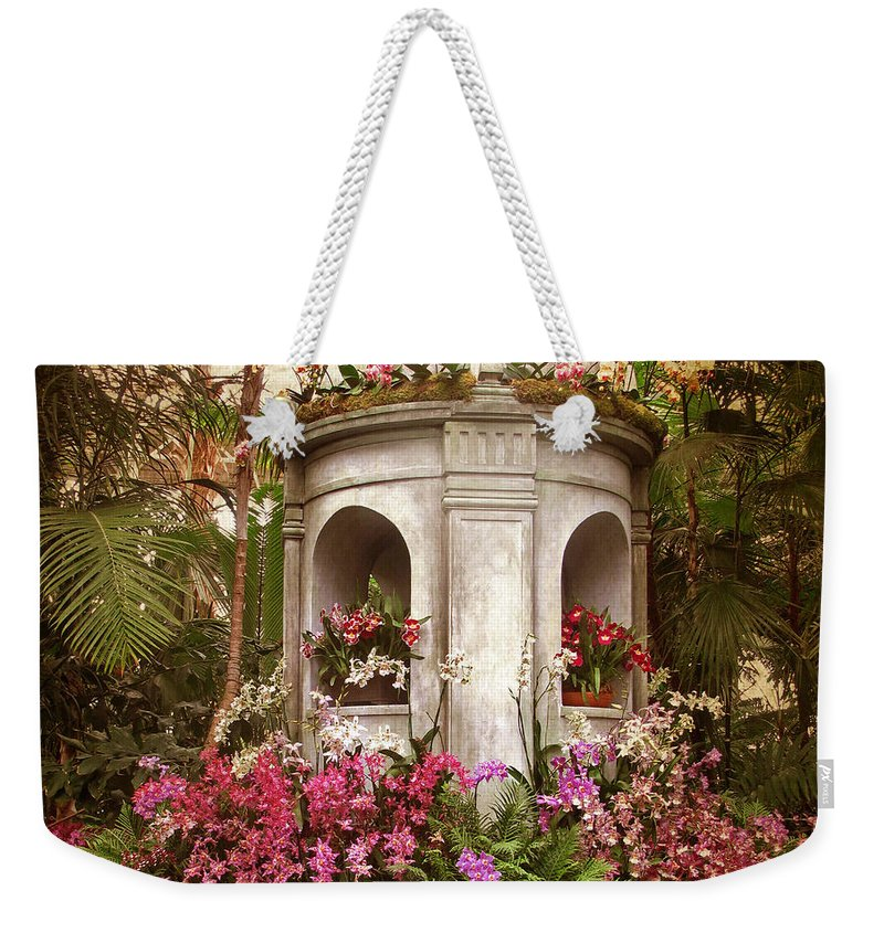 Flowers Weekender Tote Bag featuring the photograph Orchid Display by Jessica Jenney