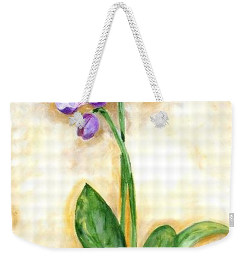 Purple Orchid Weekender Tote Bag featuring the painting Orchid by Graciela Castro