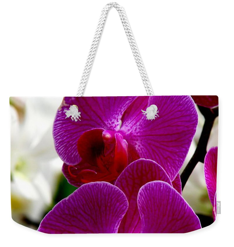 Art For The Wall...patzer Photography Weekender Tote Bag featuring the photograph Orchid by Greg Patzer