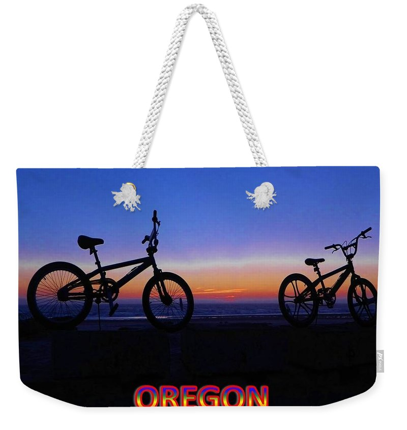 Oregon Weekender Tote Bag featuring the photograph Oregon Bikes by Gallery Of Hope