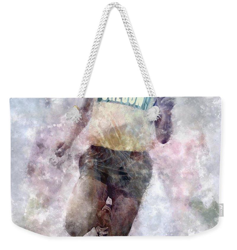 Oregon Weekender Tote Bag featuring the digital art Oregon Running Legend Steve Prefontaine by Daniel Hagerman
