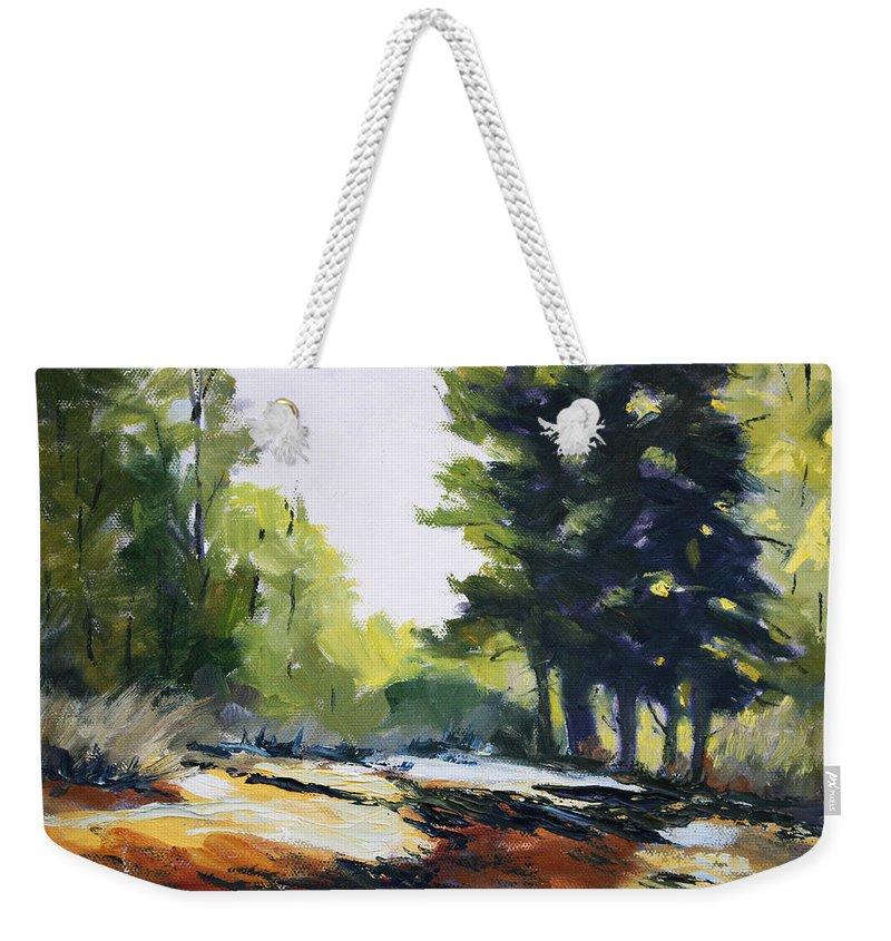 Oregon Weekender Tote Bag featuring the painting Oregon Trail by Nancy Merkle