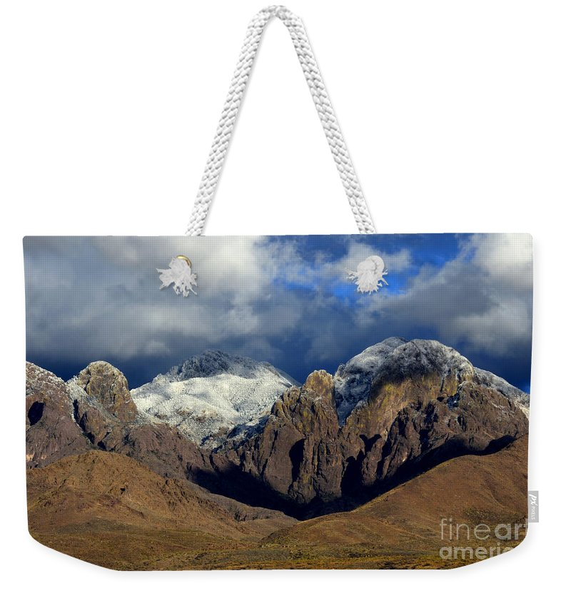 Organ Mountain Weekender Tote Bag featuring the photograph Organ Mountains Rugged Beauty by Bob Christopher