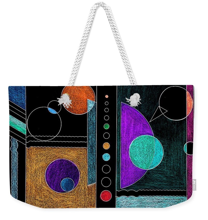 Abstract Weekender Tote Bag featuring the mixed media Organized Planets by Mary Bedy