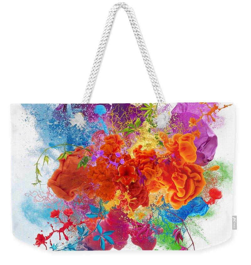 Material Weekender Tote Bag featuring the digital art Orgasm by Vizerskaya