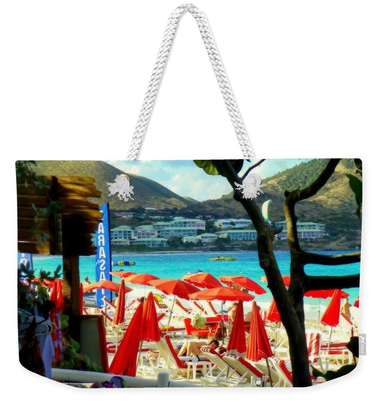 Beaches Weekender Tote Bag featuring the photograph Orient Beach Peek by Karen Wiles