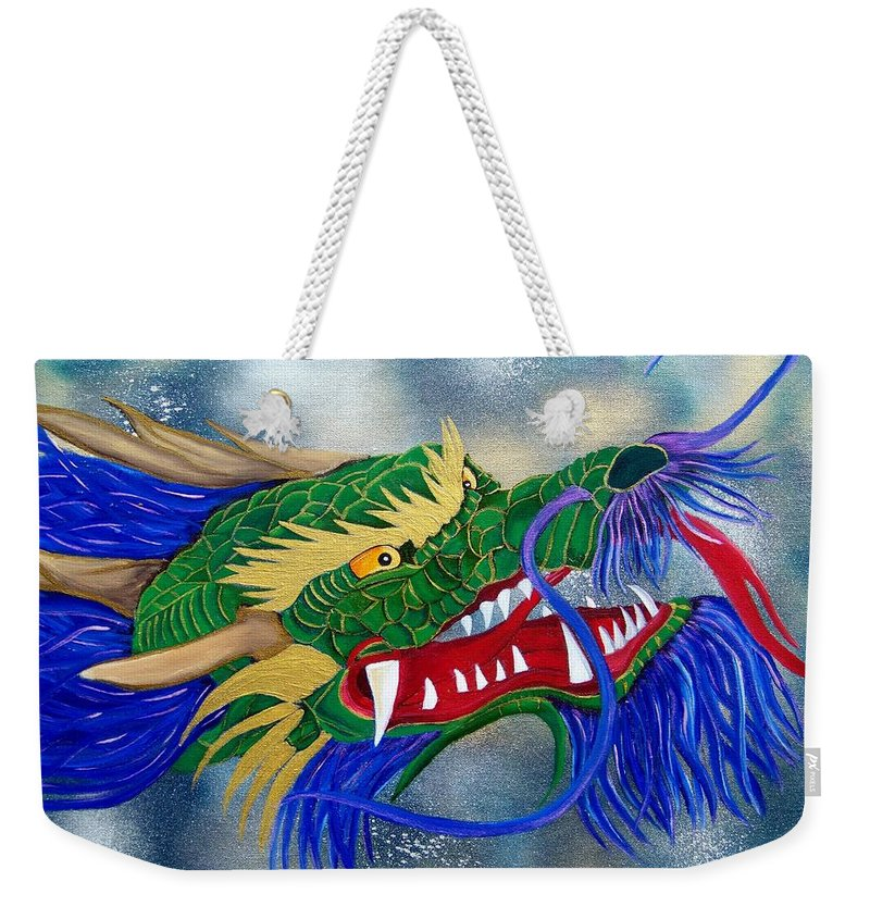 Dragon Weekender Tote Bag featuring the painting Oriental Dragon by Debbie LaFrance
