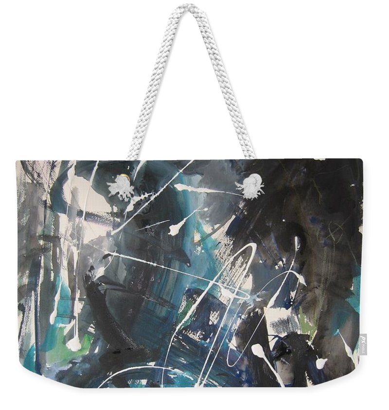 Blue Black Paintings Weekender Tote Bag featuring the painting original abstract blue and black painting for sale-Blue Valley by Seon-Jeong Kim