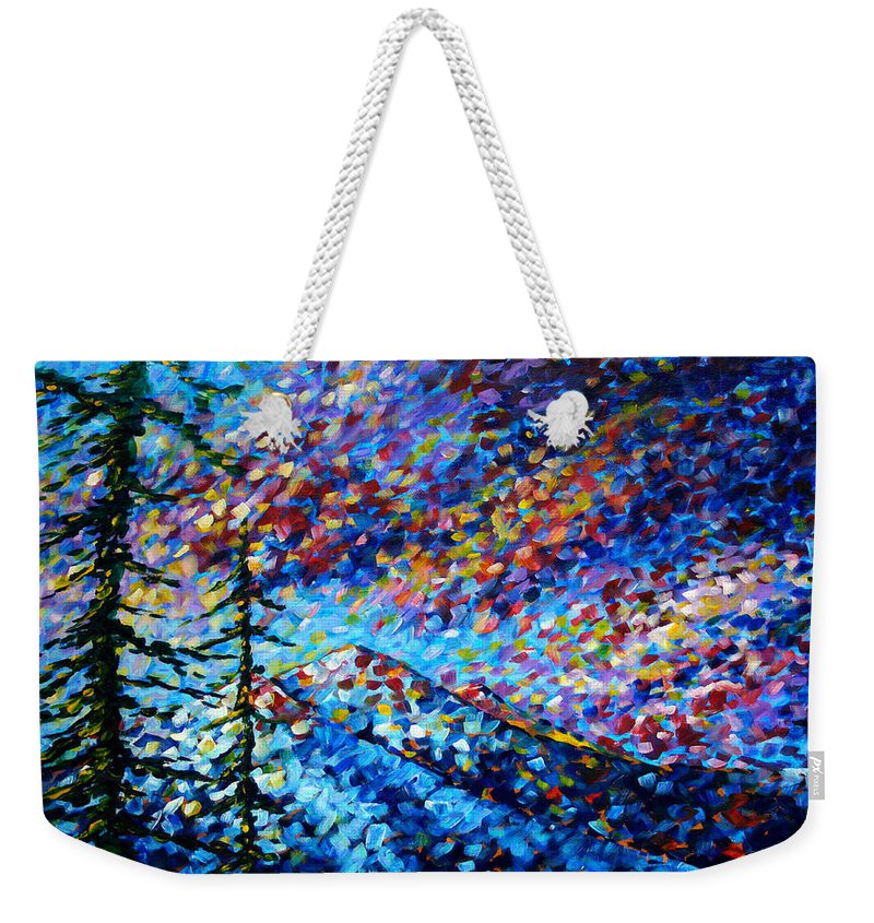 Abstract Weekender Tote Bag featuring the painting Original Abstract Impressionist Landscape Contemporary Art By Madart Mountain Glory by Megan Duncanson