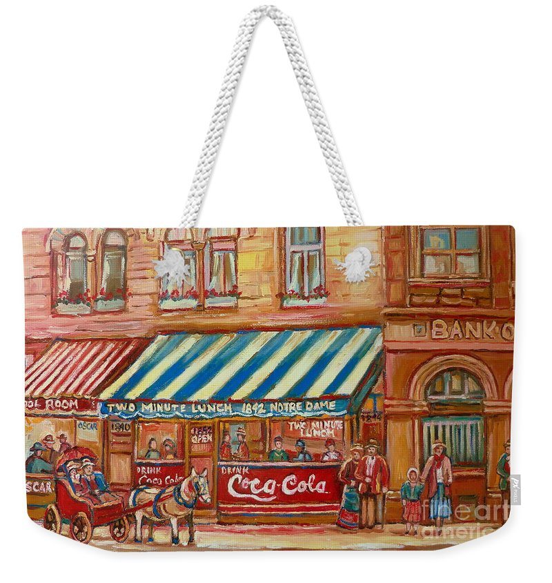 Montreal Scenes Weekender Tote Bag featuring the painting Original Bank Notre Dame Street by Carole Spandau
