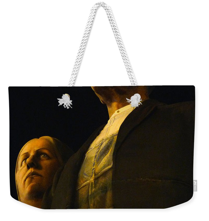 Grant Wood Weekender Tote Bag featuring the photograph Original Goth Couple by David Bearden