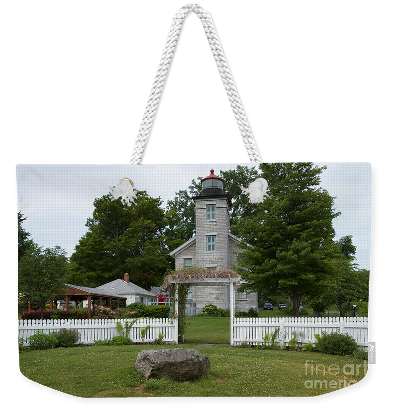 Sodus Weekender Tote Bag featuring the photograph Original Lighthouse Site by William Norton