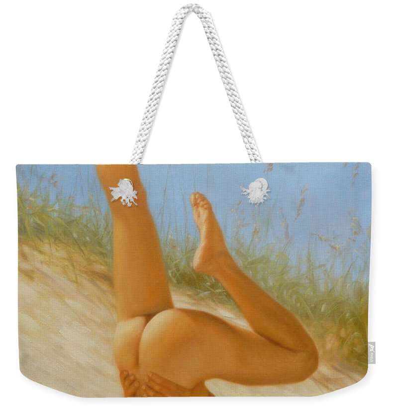Art Weekender Tote Bag featuring the painting Original Oil Painting Man Art Male Nude On Sand On Canvas#16-2-5-05 by Hongtao   Huang