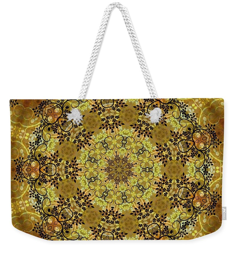 Intricate Weekender Tote Bag featuring the mixed media Ornamental 1 Version 2 Medallion by Angelina Vick