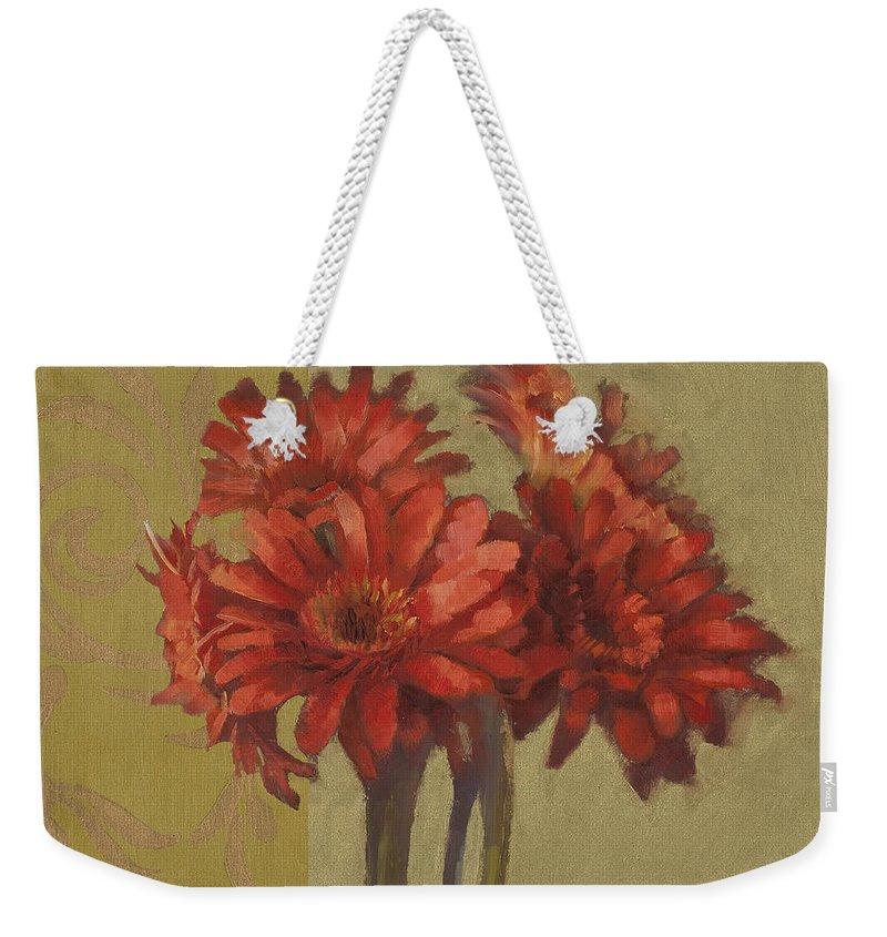 Floral Weekender Tote Bag featuring the painting Ornamental Gerbers by Cathy Locke
