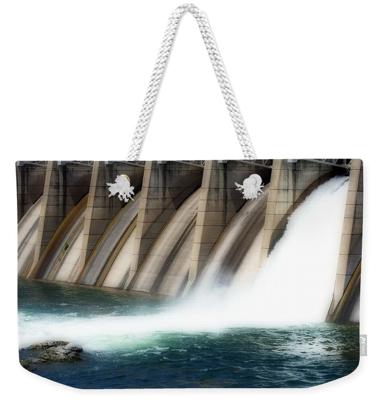 Salmon Weekender Tote Bag featuring the photograph Oroville Dam Unleashed by Holly Blunkall