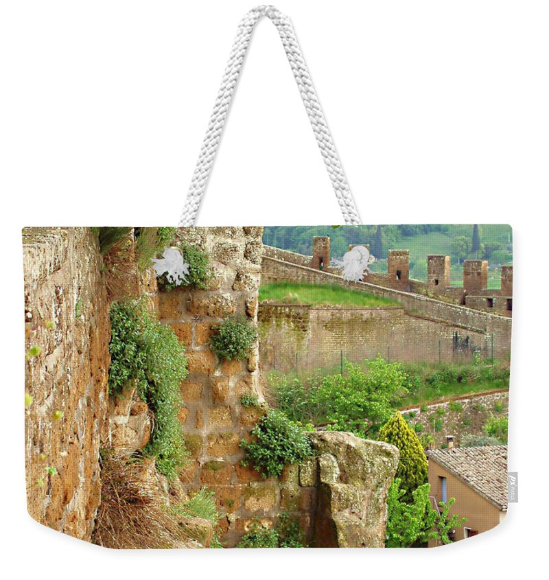Orvieto Battlement Weekender Tote Bag featuring the photograph Orvieto Battlement by Ellen Henneke