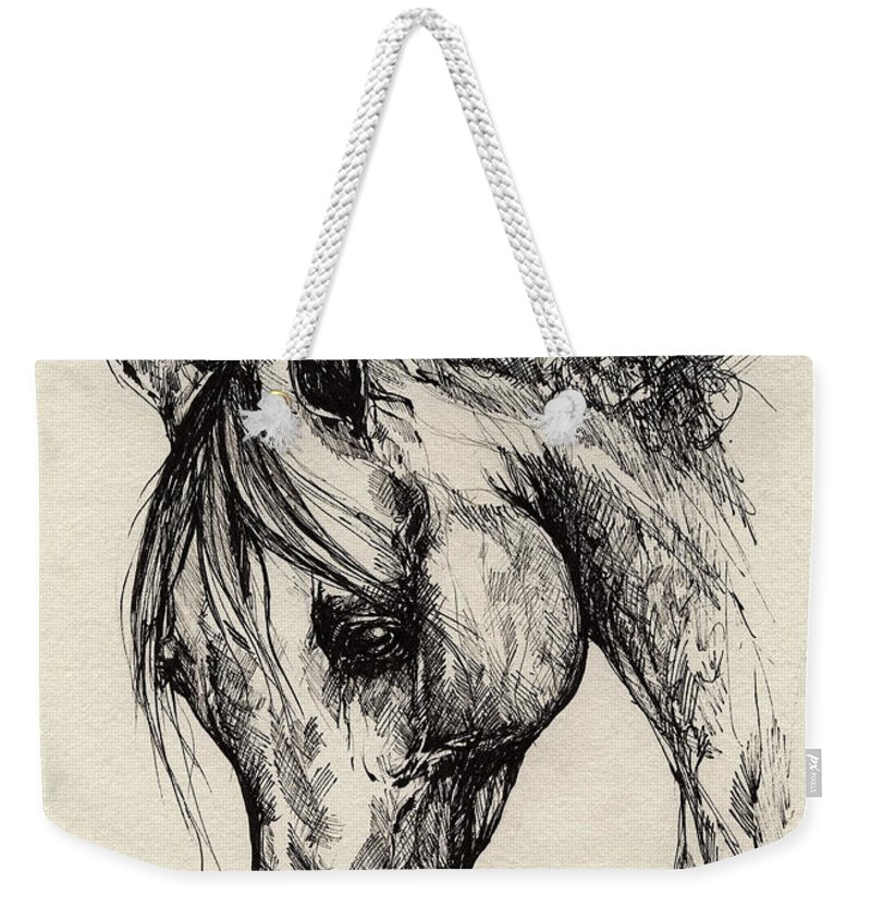 Polis Weekender Tote Bag featuring the drawing Ostragon by Angel Tarantella