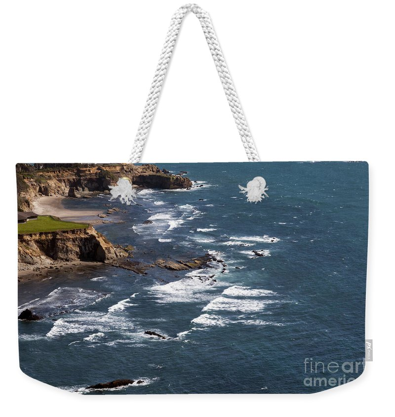 Otter Rock Oregon Pacific Ocean Oceans Water Wave Waves Shoreline Shorelines Coast Coastlines Shore Shores Coast Coasts Beach Beaches Cliff Cliffs Landscape Landscapes Waterscape Waterscapes Weekender Tote Bag featuring the photograph Otter Rock Ocean View by Bob Phillips