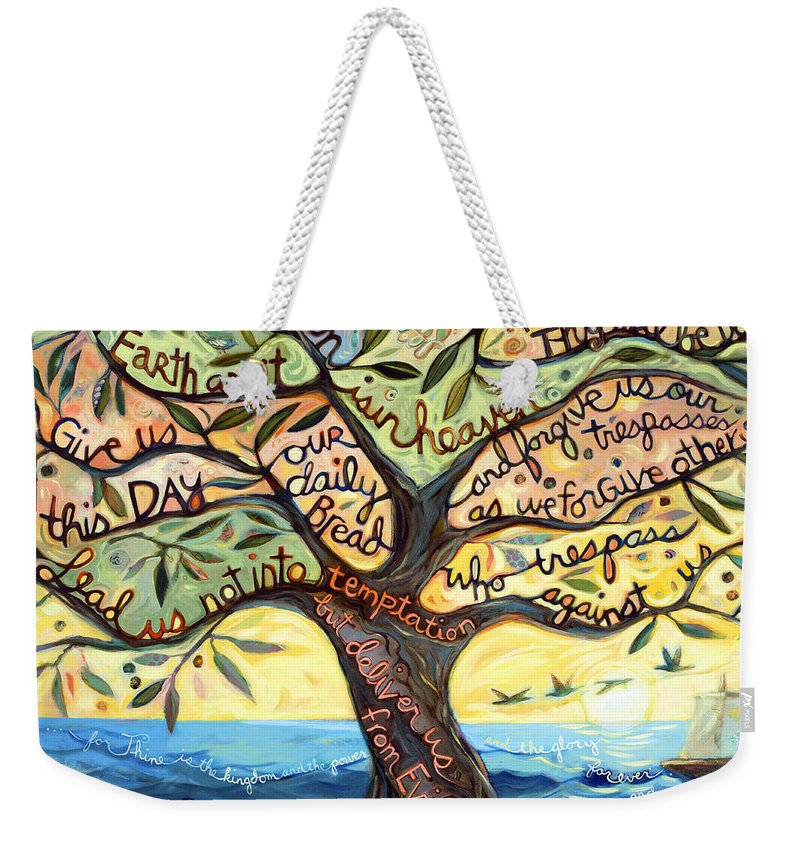 Jen Norton Weekender Tote Bag featuring the painting Our Father by Jen Norton
