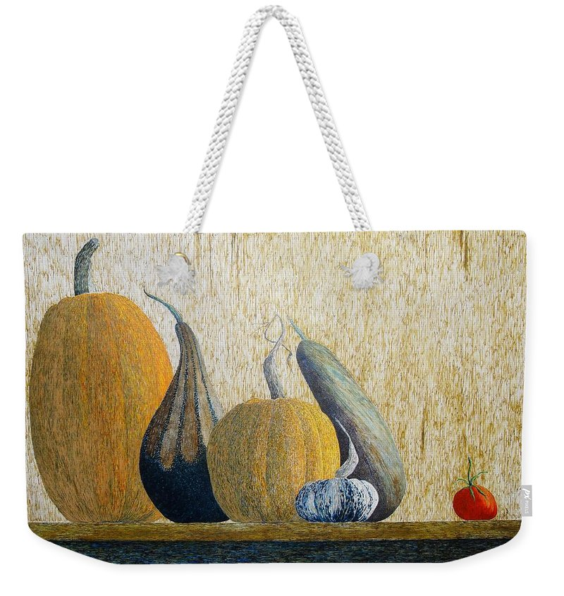 Pumpkin Weekender Tote Bag featuring the painting Out Cast by A Robert Malcom