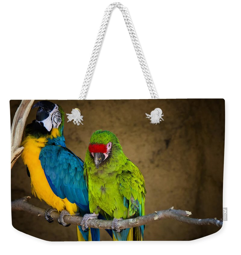 Macaws Weekender Tote Bag featuring the photograph Out On A Limb by Saija Lehtonen