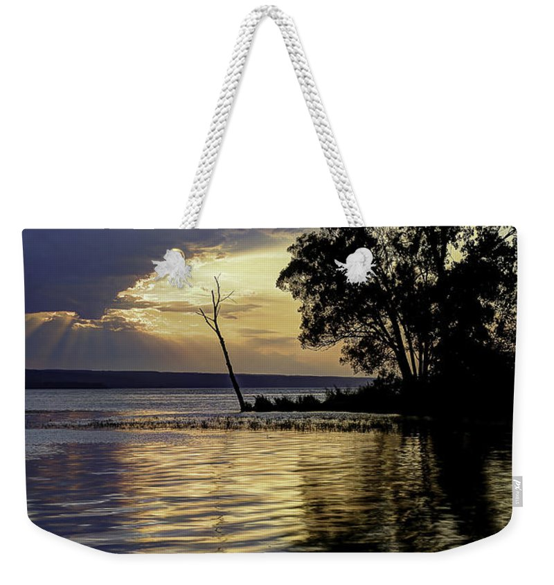 Michele Weekender Tote Bag featuring the photograph Out On Point by Michele Steffey