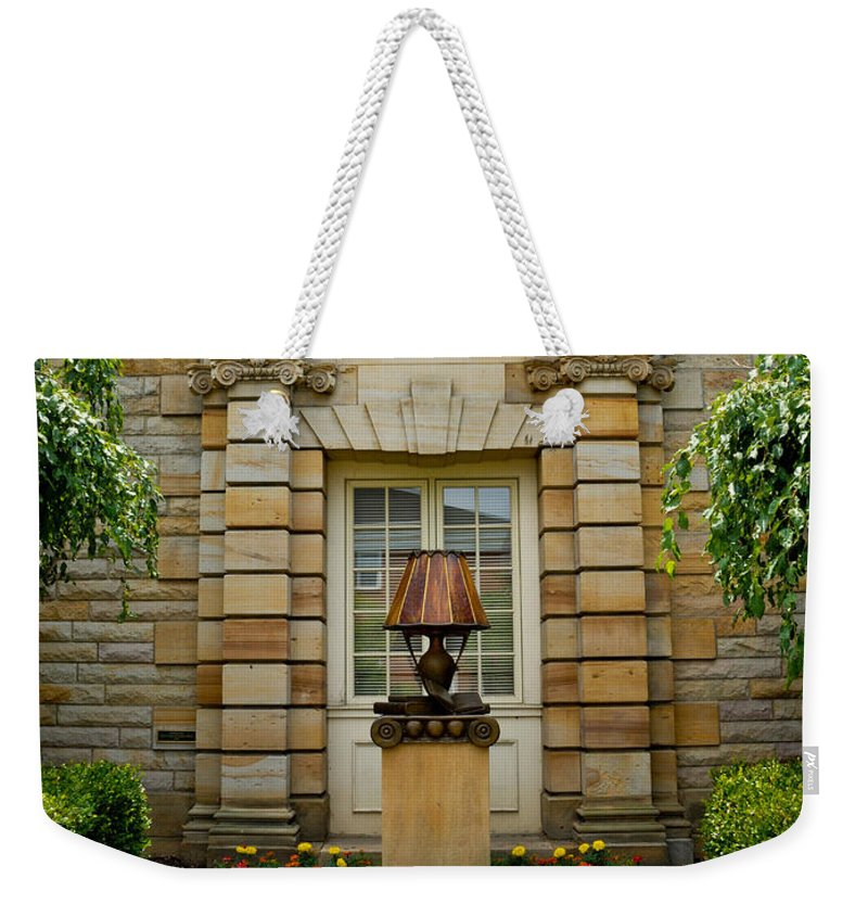 1923 Weekender Tote Bag featuring the pyrography Outdoor Benches At Sewickely Pennsylvania Library by Amy Cicconi