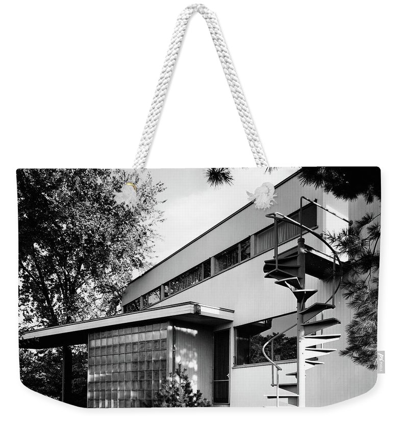Home Weekender Tote Bag featuring the photograph Outdoor Spiral Staircase To The Roof-deck Of Mr by Robert M. Damora
