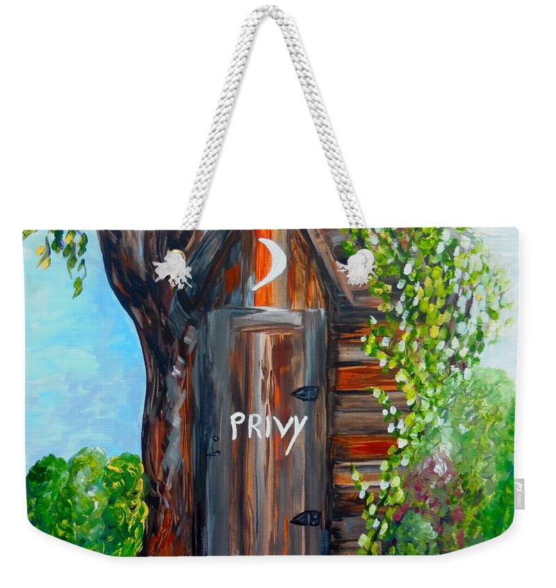 Out House Weekender Tote Bag featuring the painting Outhouse - Privy - The Old Out House by Eloise Schneider Mote