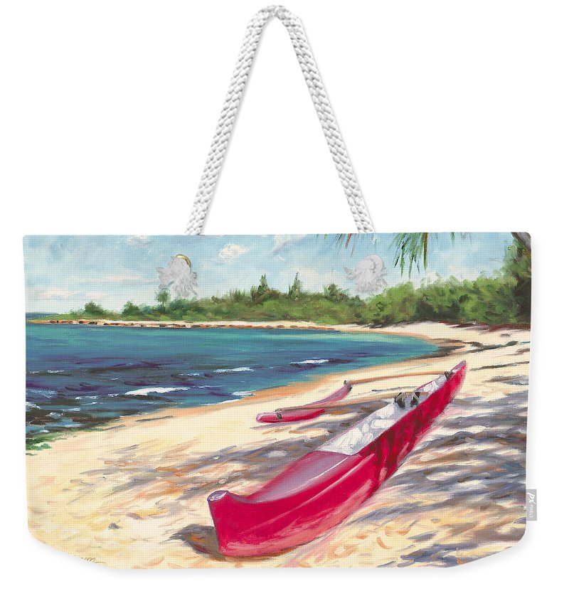 Outrigger Weekender Tote Bag featuring the painting Outrigger - Haleiwa by Steve Simon
