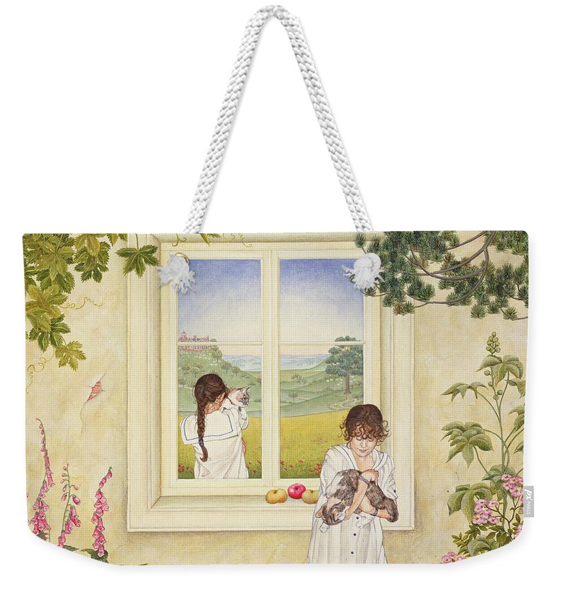 Window Weekender Tote Bag featuring the photograph Outside Out Times Julie, 1988 by Ditz
