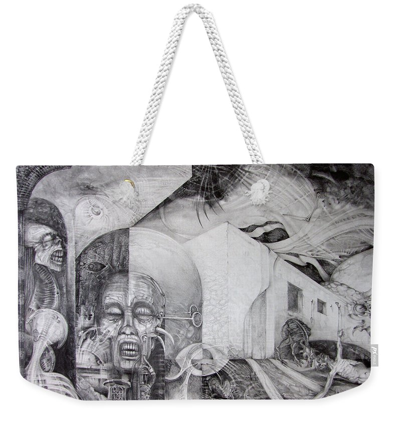 otto Rapp Weekender Tote Bag featuring the drawing Outskirts Of Necropolis by Otto Rapp