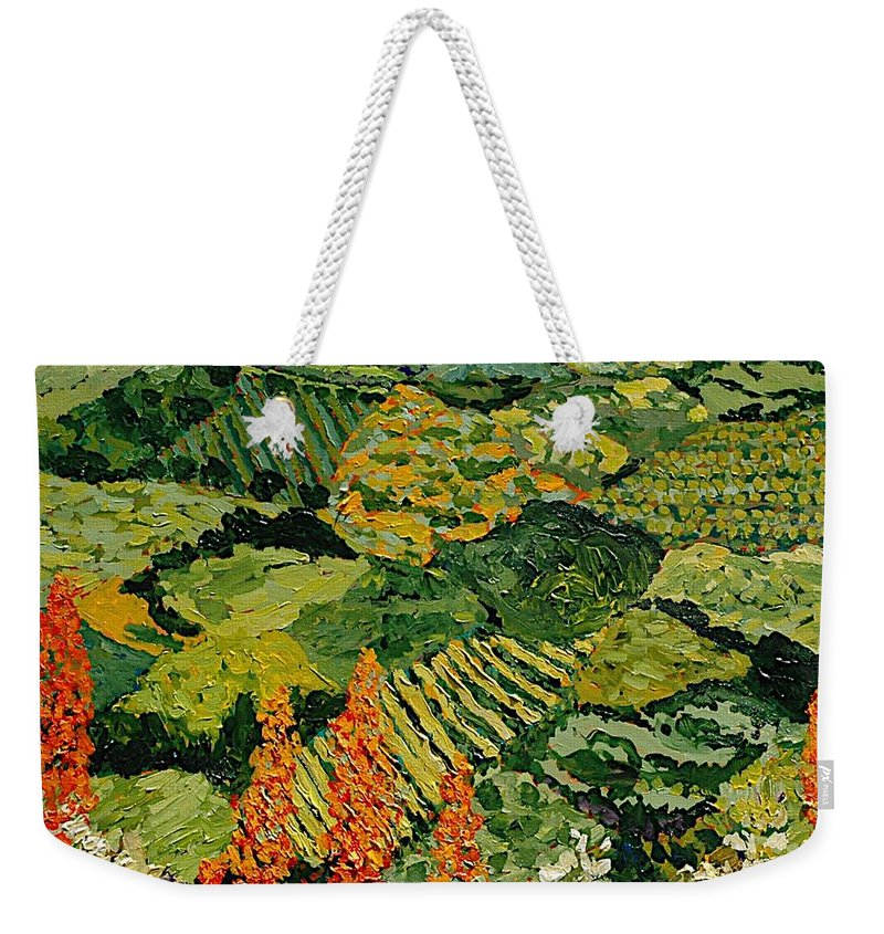 Landscape Weekender Tote Bag featuring the painting Overgrown by Allan P Friedlander