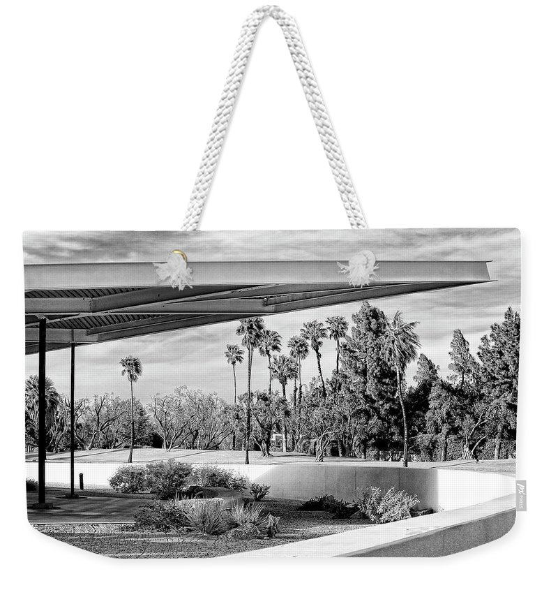 Palm Springs Weekender Tote Bag featuring the photograph OVERHANG BW Palm Springs by William Dey