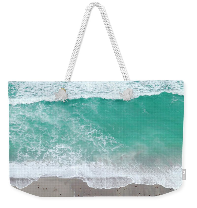 Vacations Weekender Tote Bag featuring the photograph Overhead Wide Angle Of The Beach by Bauhaus1000