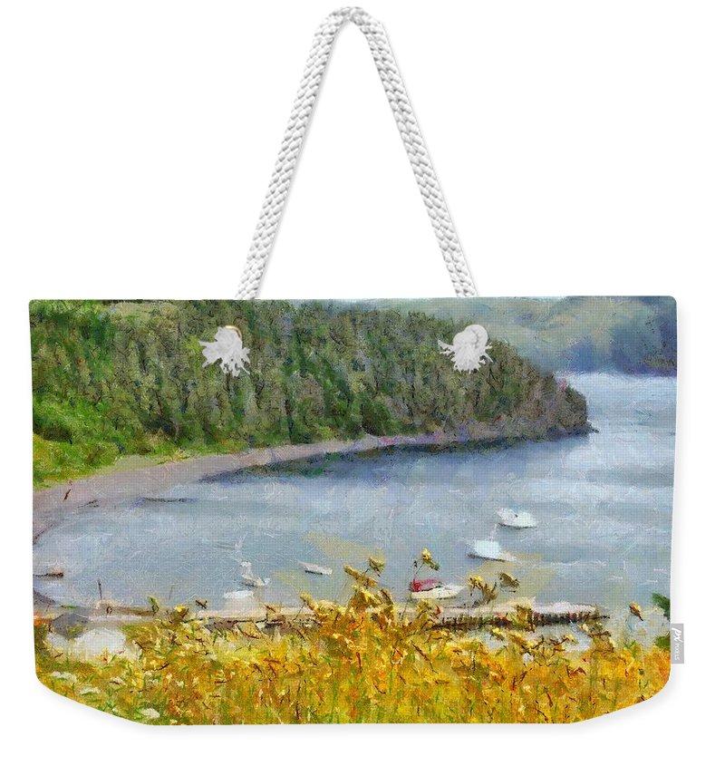 Canadian Weekender Tote Bag featuring the painting Overlooking the Harbor by Jeffrey Kolker