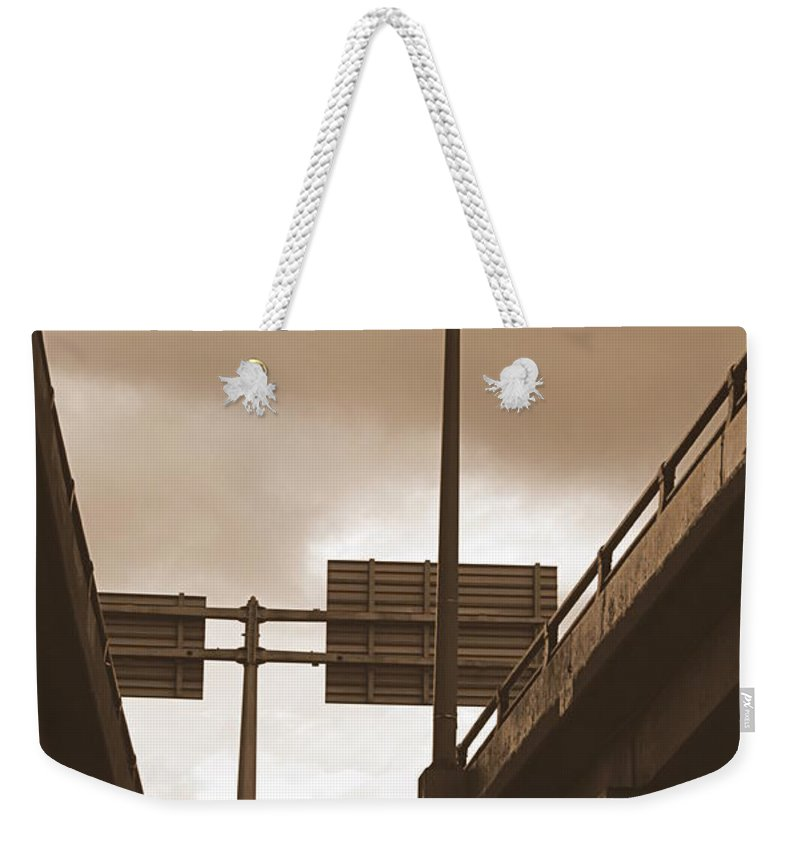 Overpass Weekender Tote Bag featuring the photograph Overpass In Sepia by Valentino Visentini