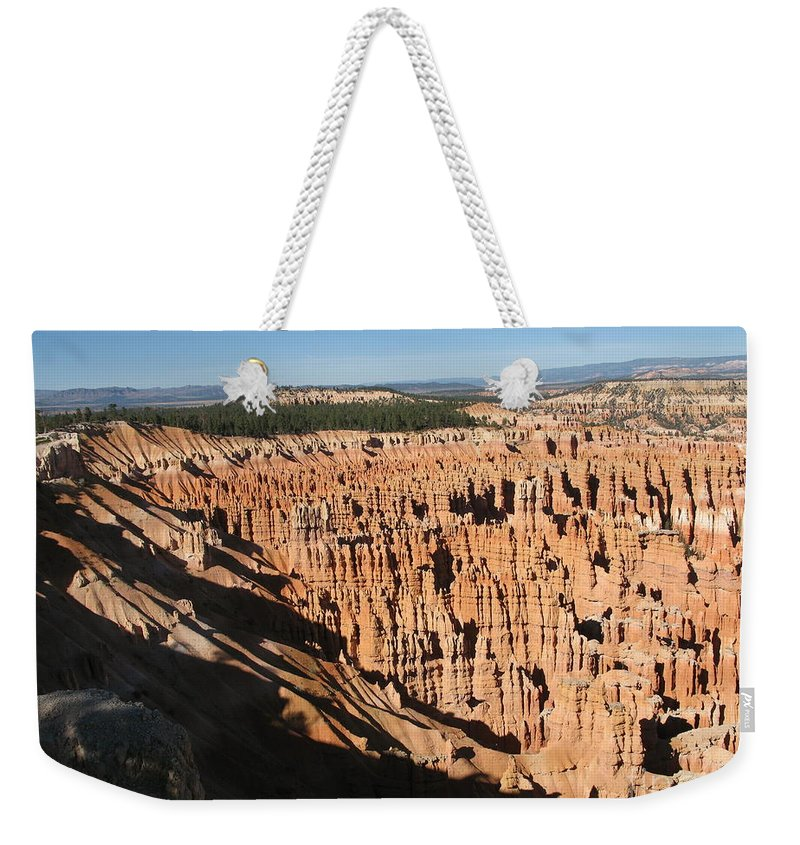 Mountians Weekender Tote Bag featuring the photograph Overview At Bryce Canyon by Christiane Schulze Art And Photography