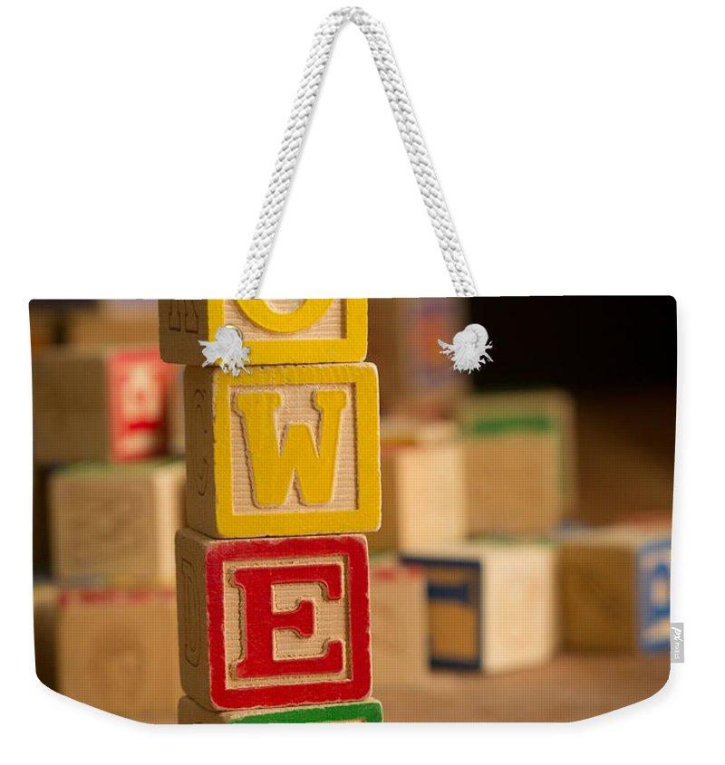 Alphabet Weekender Tote Bag featuring the photograph Owen - Alphabet Blocks by Edward Fielding