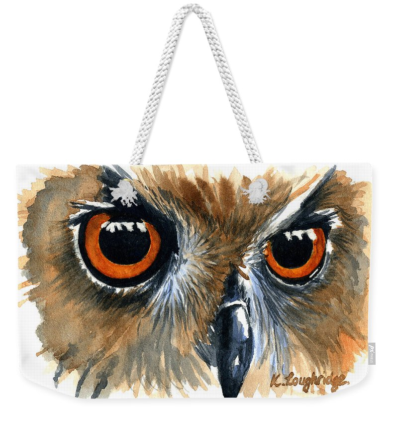 Owl Weekender Tote Bag featuring the painting Owl by Karen Loughridge KLArt