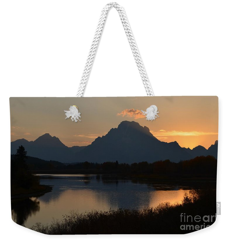 Sunset Weekender Tote Bag featuring the photograph Oxbow Sunset by Deanna Cagle