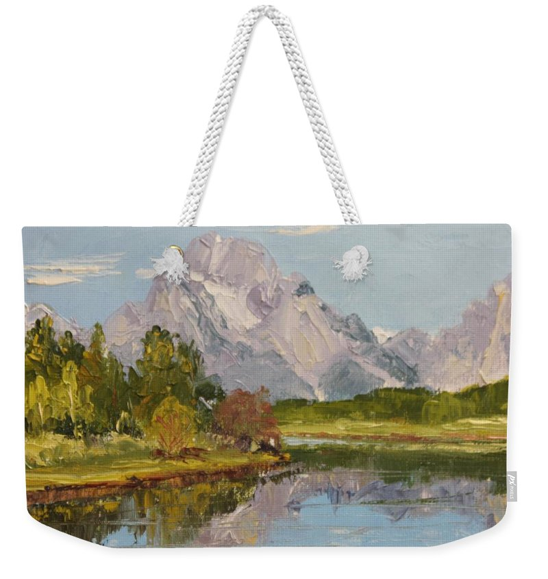 Oxbow Landing Weekender Tote Bag featuring the painting Oxbow View Mt. Moran by Inka Zamoyska