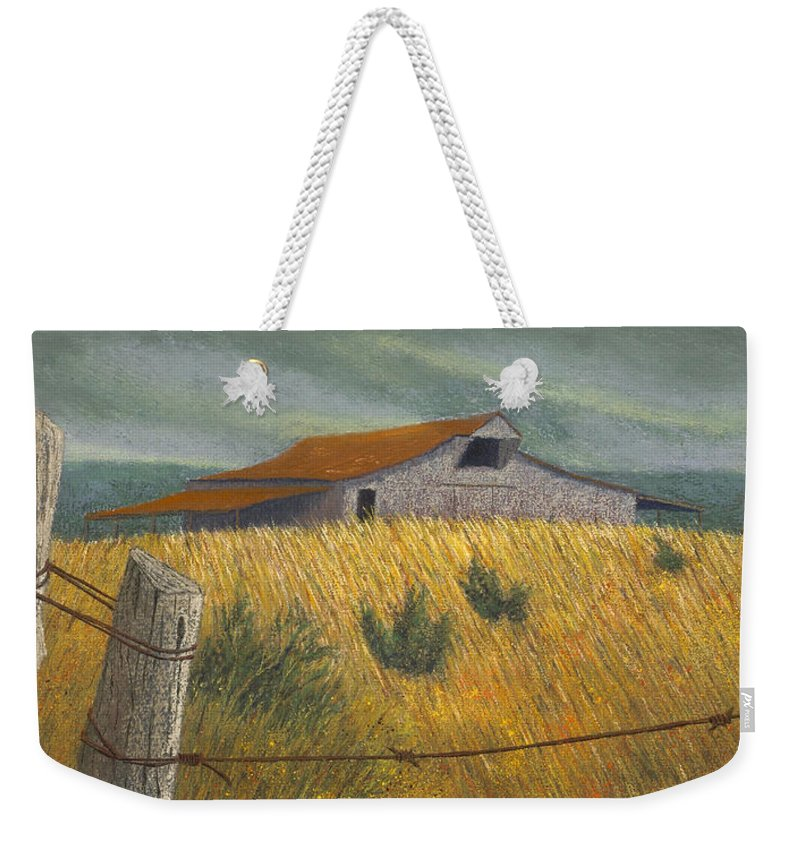 Ozark Barn Weekender Tote Bag featuring the pastel Ozark Barn Madison County by Garry McMichael