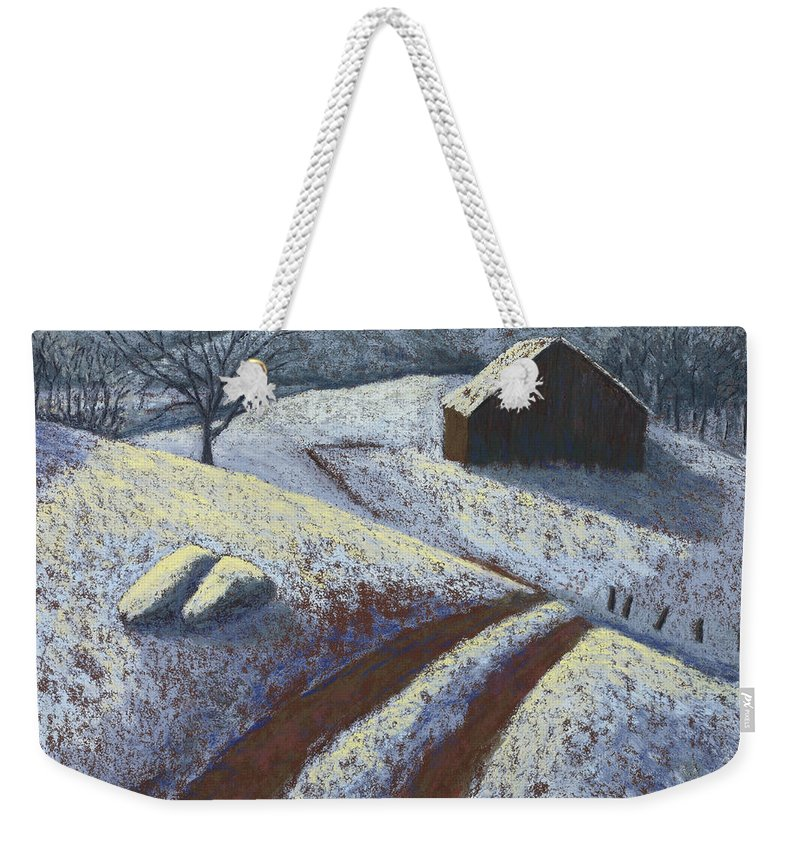Ozark Barn Weekender Tote Bag featuring the painting Ozark Winter Barn by Garry McMichael